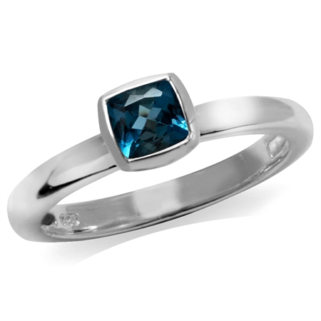 Genuine Cushion Cut London Blue Topaz 925 Sterling Silver Stack/Stackable Solitaire Ring