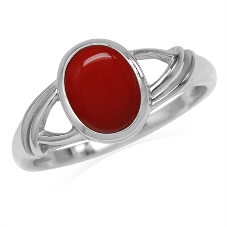 9x7MM Oval Shape Created Red Coral White Gold Plated 925 Sterling Silver Solitaire Casual Ring