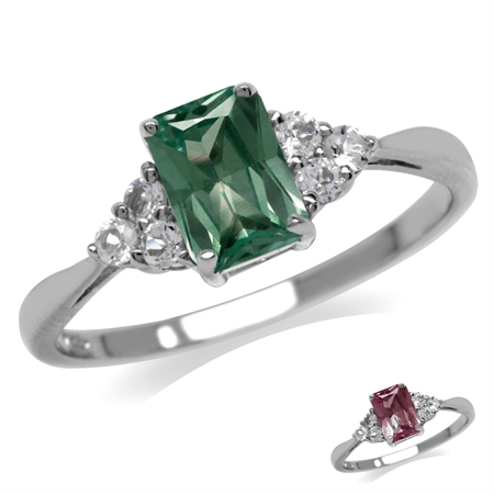Simulated Color Change Alexandrite & White CZ 925 Sterling Silver Engagement Ring