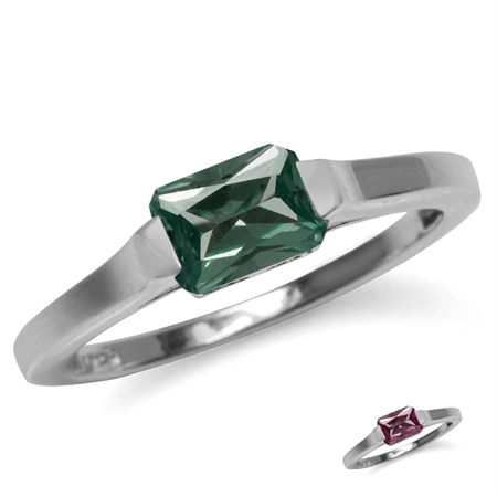 Octagon Simulated Color Change Alexandrite White Gold Plated 925 Sterling Silver Solitaire Ring
