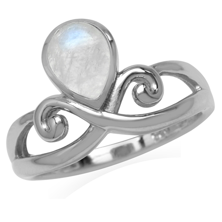 8x6MM Natural Pear Shape Moonstone White Gold Plated 925 Sterling Silver Swirl & Spiral Ring