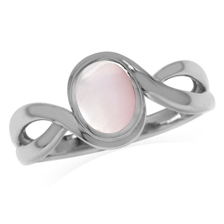 Pink Mother Of Pearl White Gold Plated 925 Sterling Silver Solitaire Casual Ring