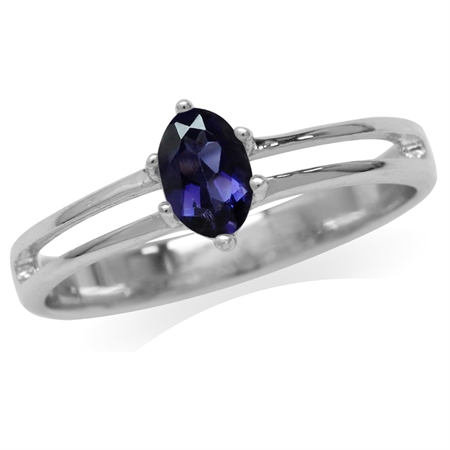 Petite Natural Iolite White Gold Plated 925 Sterling Silver Promise Ring