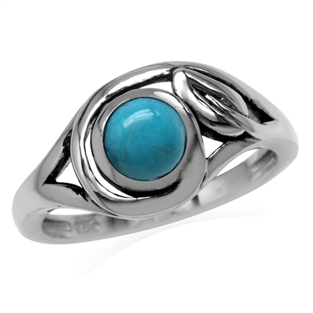 6MM Genuine Round Shape American Turquoise 925 Sterling Silver Leaf Vintage Inspired Ring