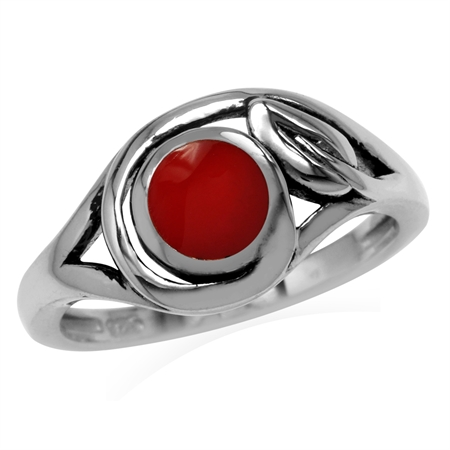 6MM Created Round Shape Red Coral 925 Sterling Silver Leaf Vintage Inspired Ring