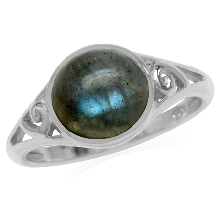 9MM Round Shape Labradorite White Gold Plated 925 Sterling Silver Filigree Swirl Ring