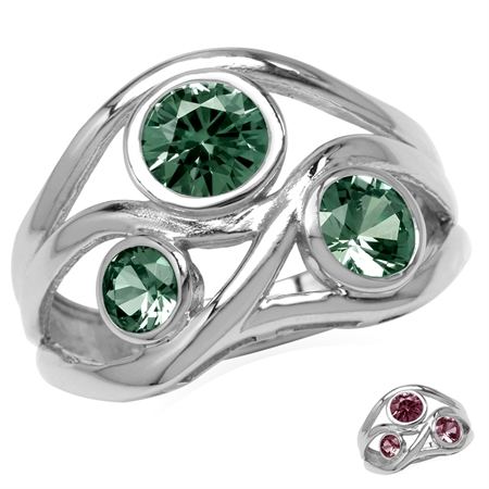 3-Stone Simulated Color Change Alexandrite White Gold Plated 925 Sterling Silver Ribbon Weave Ring