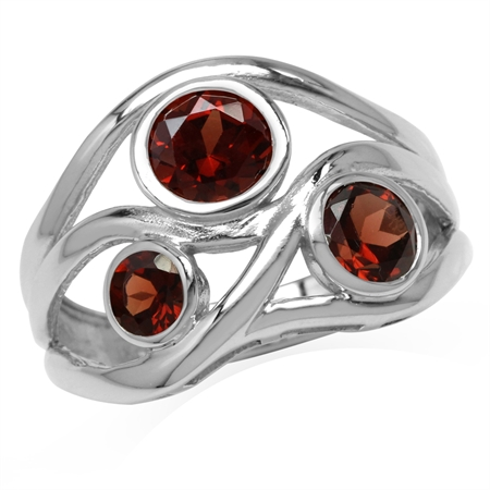 1.96ct. 3-Stone Natural Garnet White Gold Plated 925 Sterling Silver Ribbon Weave Ring