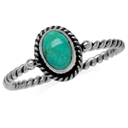 Created Oval Shape Green Turquoise 925 Sterling Silver Rope Solitaire Ring
