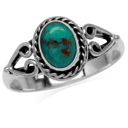 Created Oval Shape Green Turquoise 925 Sterling Silver Rope & Heart Victorian Style Solitaire Ring