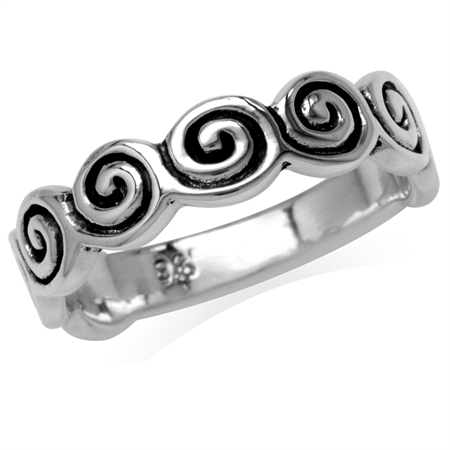 925 Sterling Silver Swirl & Spiral Design Journey Ring