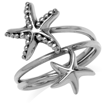 3-Line 925 Sterling Silver Twin Starfish/Sealife Fashion Casual Ring
