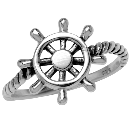 925 Sterling Silver Rope & Marine Wheel Fashion Casual Teens/Girls Ring
