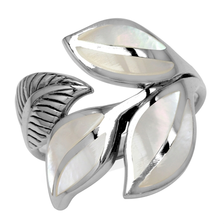 White Mother Of Pearl Inlay 925 Sterling Silver Bypass Leaf Ring