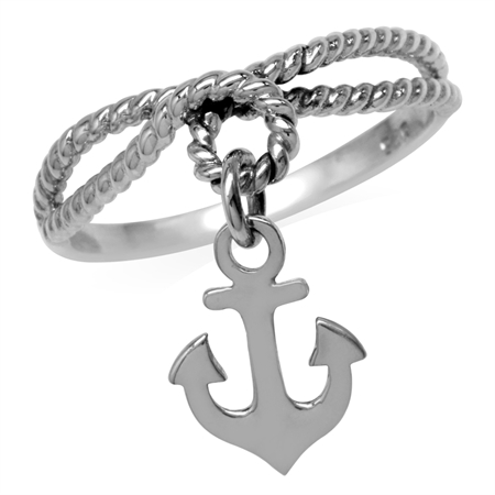 Dangle Anchor 925 Sterling Silver Double Rope Knot Ring