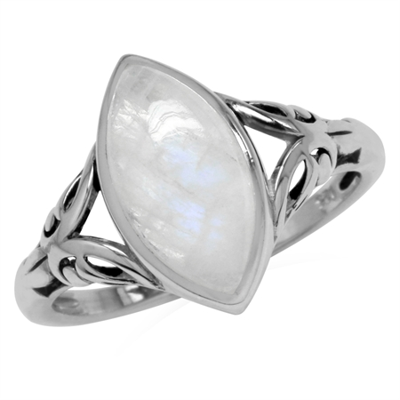 14x7MM Natural Marquise Shape Moonstone 925 Sterling Silver Filigree Solitaire Ring