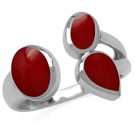 Created Red Coral Inlay White Gold Plated 925 Sterling Silver Cluster Open Front Ring