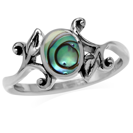 8x6MM Oval Shape Abalone/Paua Shell 925 Sterling Silver Leaf Vintage Inspired Ring