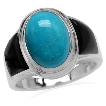 14x10MM Genuine Oval Shape Arizona Turquoise & Created Black Onyx 925 Sterling Silver Ring