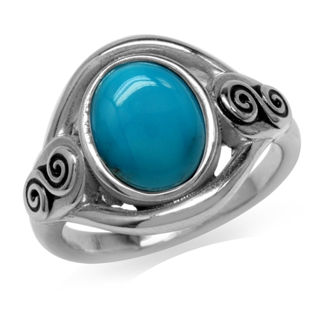 10x8MM Genuine Oval Shape Arizona Turquoise 925 Sterling Silver Swirl & Spiral Solitaire Ring