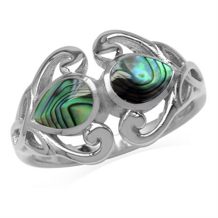 7x5MM Pear Shape Abalone/Paua Shell 925 Sterling Silver Triquetra Celtic Knot Heart Ring