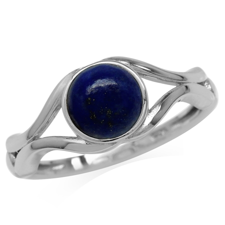 7MM Genuine Round Shape Blue Lapis White Gold Plated 925 Sterling Silver Solitaire Ring