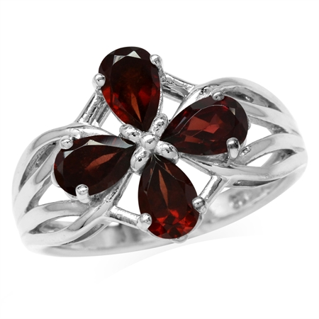 2.12ct. 6x4MM Natural Pear Shape Garnet White Gold Plated 925 Sterling Silver Filigree Flower Ring