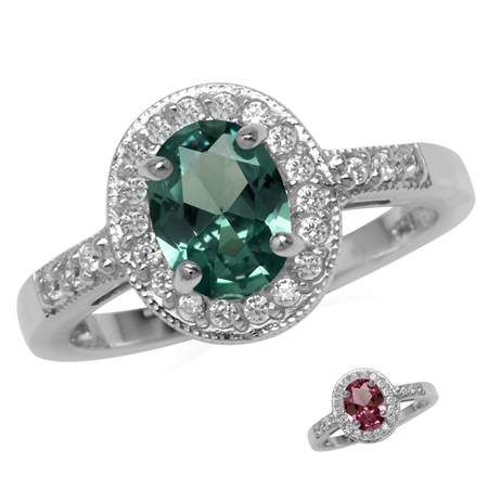 8x6MM Oval Shape Simulated Color Change Alexandrite 925 Sterling Silver Halo Engagement Ring