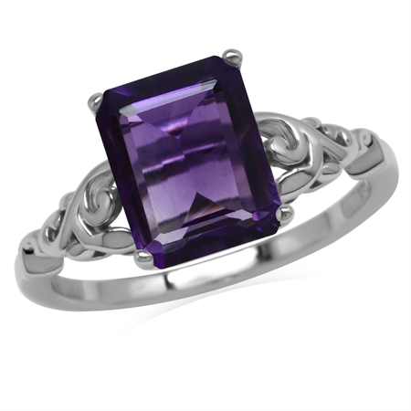 3.06ct. 10x8MM Octagon Natural African Amethyst 925 Sterling Silver Filigree Leaf Solitaire Ring