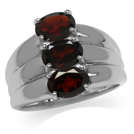 2.76ct. 3-Stone Natural Garnet White Gold Plated 925 Sterling Silver Ring