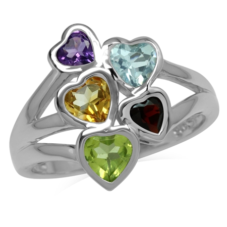Natural Amethyst, Citrine, Peridot, Garnet & Blue Topaz 925 Sterling Silver Love Heart Cluster Ring