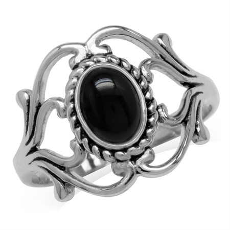 Genuine Black Onyx 925 Sterling Silver Victorian Style Rope Ring