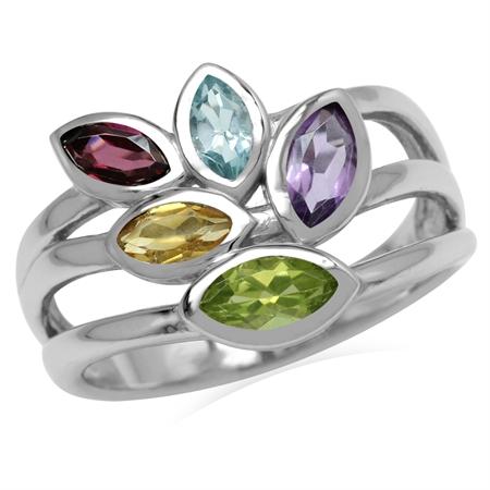 Natural Peridot, Amethyst, Citrine, Rhodolite Garnet & Topaz 925 Sterling Silver 3-Line Leaf Ring