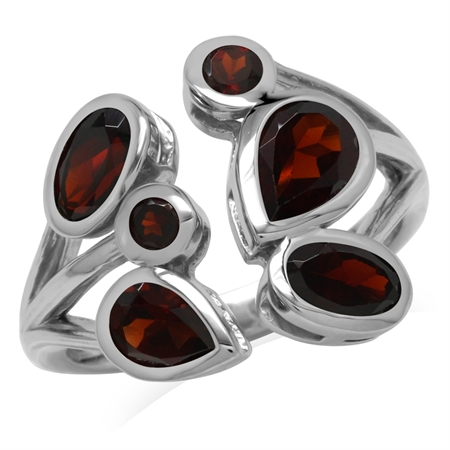 2.89ct. Natural Garnet 925 Sterling Silver Cluster Cocktail Open Front Ring