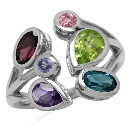 Natural Peridot, Amethyst, Rhodolite Garnet&London Blue 925 Sterling Silver Cocktail Open Front Ring