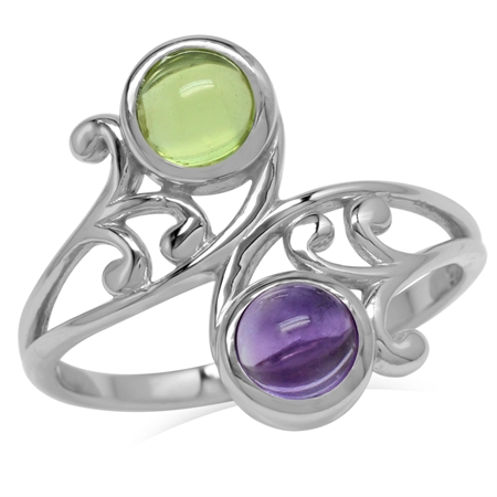 5MM Cabochon Round Shape Peridot & Amethyst 925 Sterling Silver Leaf & Swirl Style Bypass Ring