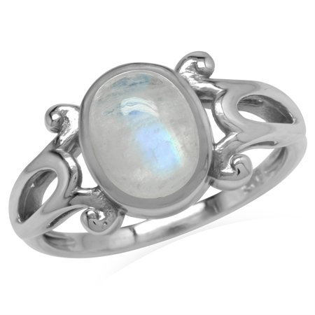 Genuine Rainbow Moonstone 925 Sterling Silver Victorian Inspired Casual Ring