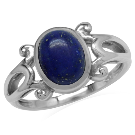 Genuine Blue Lapis 925 Sterling Silver Victorian Inspired Casual Ring