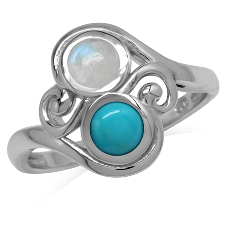 5MM Natural Round Shape Moonstone & Arizona Turquoise 925 Sterling Silver Swirl & Spiral Style Ring