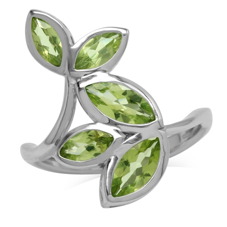 2.67ct. Natural Marquise Shape Peridot 925 Sterling Silver Bypass Leaf Ring