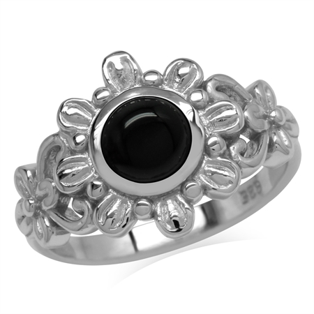 6MM Genuine Round Shape Black Onyx 925 Sterling Silver Flower Solitaire Ring