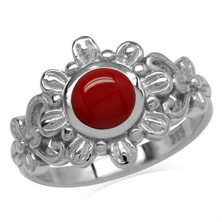 6MM Created Round Shape Red Coral 925 Sterling Silver Flower Solitaire Ring