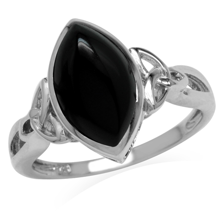Genuine Black Onyx 925 Sterling Silver Triquetra Celtic Knot Solitaire Ring