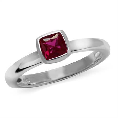 Cushion Cut Created Ruby 925 Sterling Silver Stack/Stackable Solitaire Ring