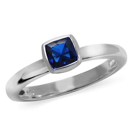 Cushion Cut Synthetic Blue Sapphire 925 Sterling Silver Stack/Stackable Solitaire Ring