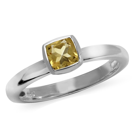 Cushion Cut Natural Citrine 925 Sterling Silver Stack/Stackable Solitaire Ring