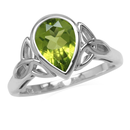 Genuine 2 CT 10x7MM Peridot 925 Sterling Silver Triquetra Celtic Knot Ring