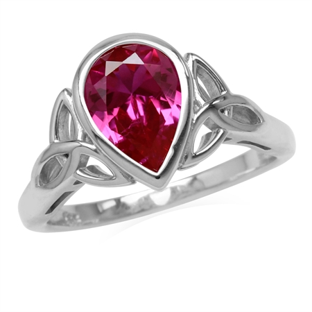 2.1 CT Simulated Pink Tourmaline 925 Sterling Silver Triquetra Celtic Knot Ring