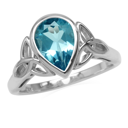 Genuine 2.2 CT 10x7MM Swiss Blue Topaz 925 Sterling Silver Triquetra Celtic Knot Ring