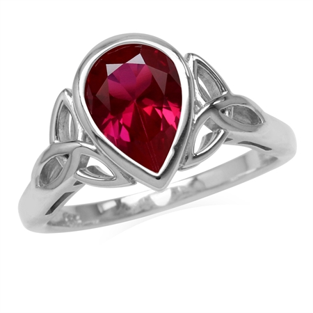 2.1 CT Synthetic Red Ruby 925 Sterling Silver Triquetra Celtic Knot Ring